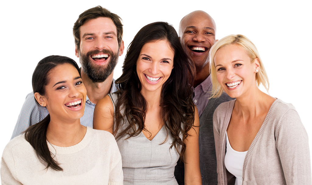 Group Smiling White Teeth